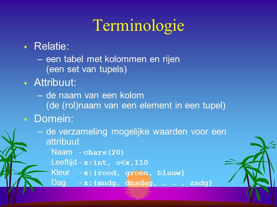 Terminologie s Relatie: –een tabel met kolommen en rijen (een set van tupels) s Attribuut: –de naam van een kolom (de (rol)naam van een element in een
