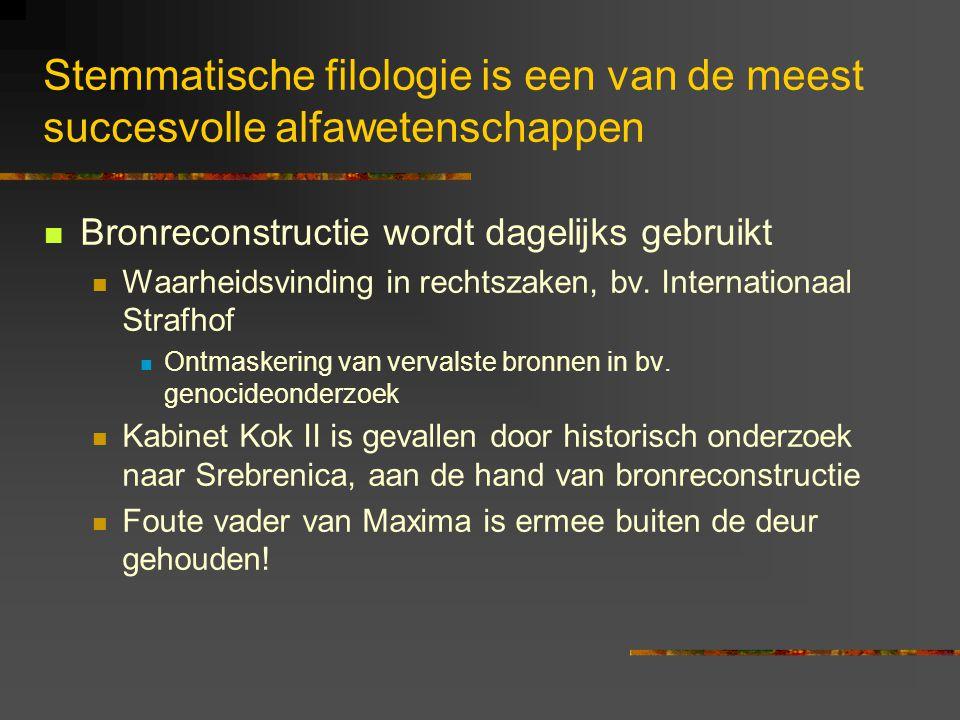 Stemmatische filologie is een van de meest succesvolle alfawetenschappen Bronreconstructie wordt dagelijks gebruikt Waarheidsvinding in rechtszaken, bv.