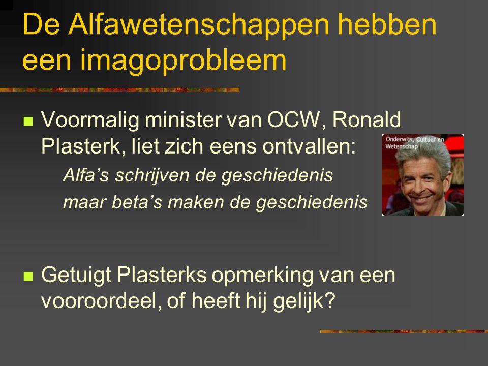 De Alfawetenschappen hebben een imagoprobleem Voormalig minister van OCW, Ronald Plasterk, liet zich eens ontvallen: Alfa's schrijven de geschiedenis maar beta's maken de geschiedenis Getuigt Plasterks opmerking van een vooroordeel, of heeft hij gelijk?