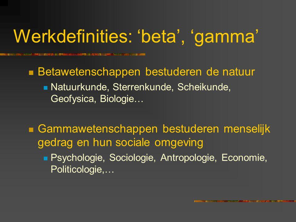 Werkdefinities: 'beta', 'gamma' Betawetenschappen bestuderen de natuur Natuurkunde, Sterrenkunde, Scheikunde, Geofysica, Biologie… Gammawetenschappen bestuderen menselijk gedrag en hun sociale omgeving Psychologie, Sociologie, Antropologie, Economie, Politicologie,…