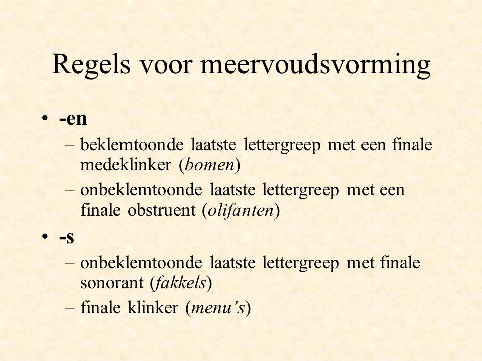 Finale klank Obstruent  -en (takken) Sonorant  -s (lakens) Klinker  -s (foto's) Diphthong  -en (uien)