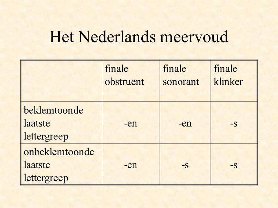 Regels voor meervoudsvorming -en –beklemtoonde laatste lettergreep met een finale medeklinker (bomen) –onbeklemtoonde laatste lettergreep met een fina