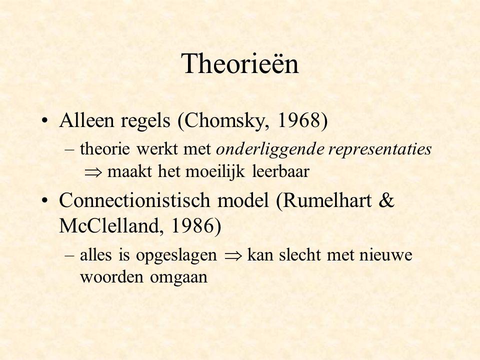 Theorieën Alleen regels (Chomsky, 1968) –theorie werkt met onderliggende representaties  maakt het moeilijk leerbaar Connectionistisch model (Rumelhart & McClelland, 1986) –alles is opgeslagen  kan slecht met nieuwe woorden omgaan