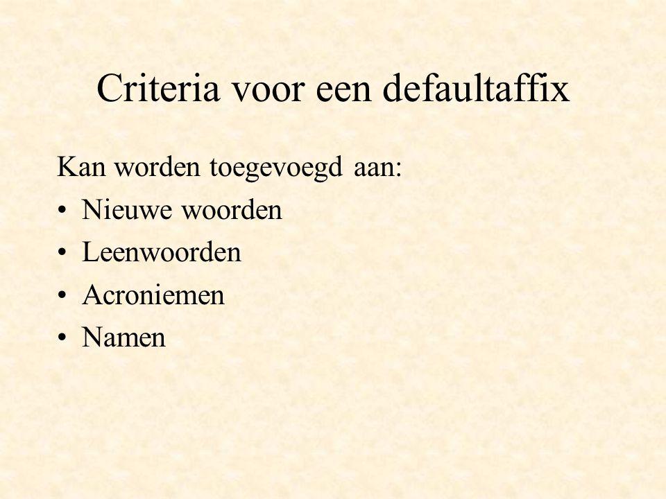 Criteria voor een defaultaffix Kan worden toegevoegd aan: Nieuwe woorden Leenwoorden Acroniemen Namen