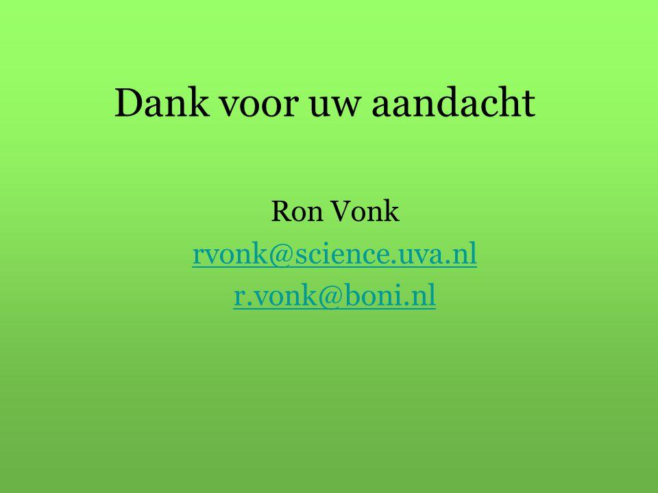 Dank voor uw aandacht Ron Vonk rvonk@science.uva.nl r.vonk@boni.nl