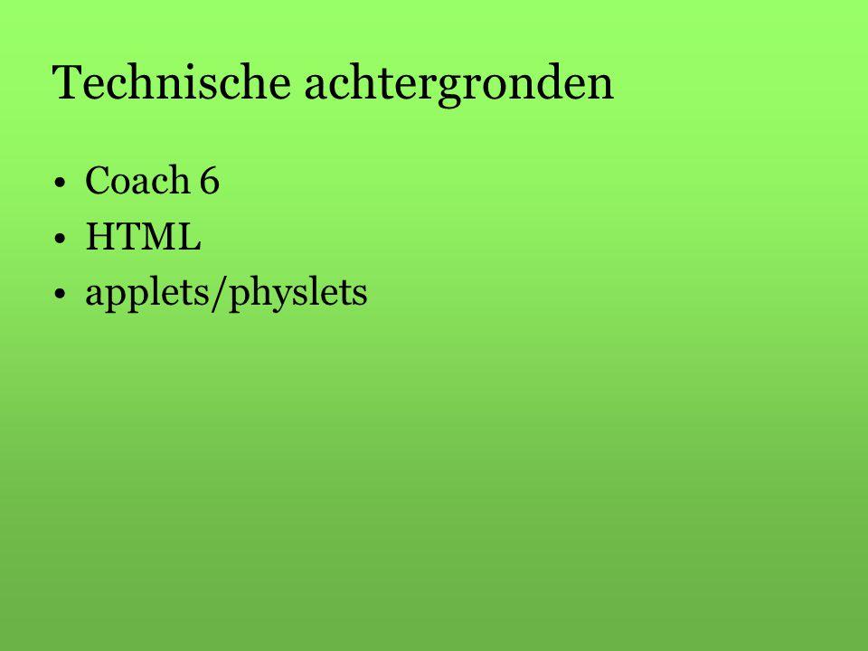 Technische achtergronden Coach 6 HTML applets/physlets