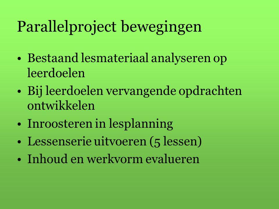 Parallelproject bewegingen Bestaand lesmateriaal analyseren op leerdoelen Bij leerdoelen vervangende opdrachten ontwikkelen Inroosteren in lesplanning