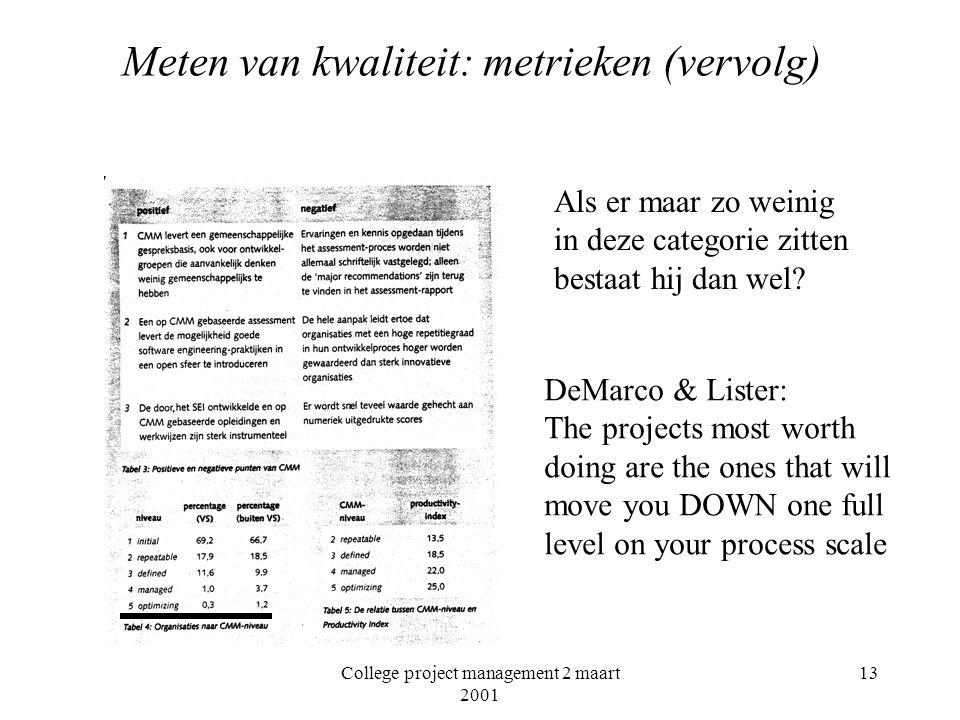 College project management 2 maart 2001 13 Meten van kwaliteit: metrieken (vervolg) Als er maar zo weinig in deze categorie zitten bestaat hij dan wel.