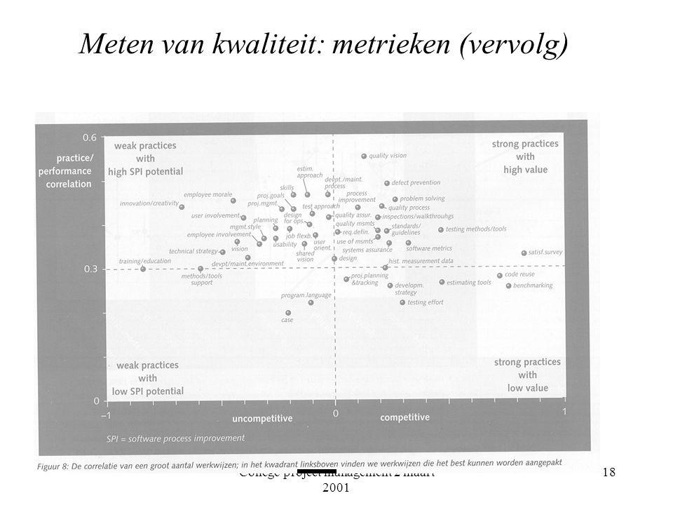 College project management 2 maart 2001 18 Meten van kwaliteit: metrieken (vervolg)