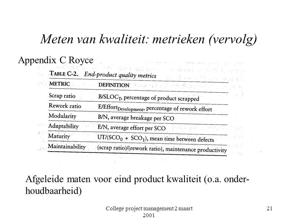 College project management 2 maart 2001 21 Meten van kwaliteit: metrieken (vervolg) Afgeleide maten voor eind product kwaliteit (o.a.