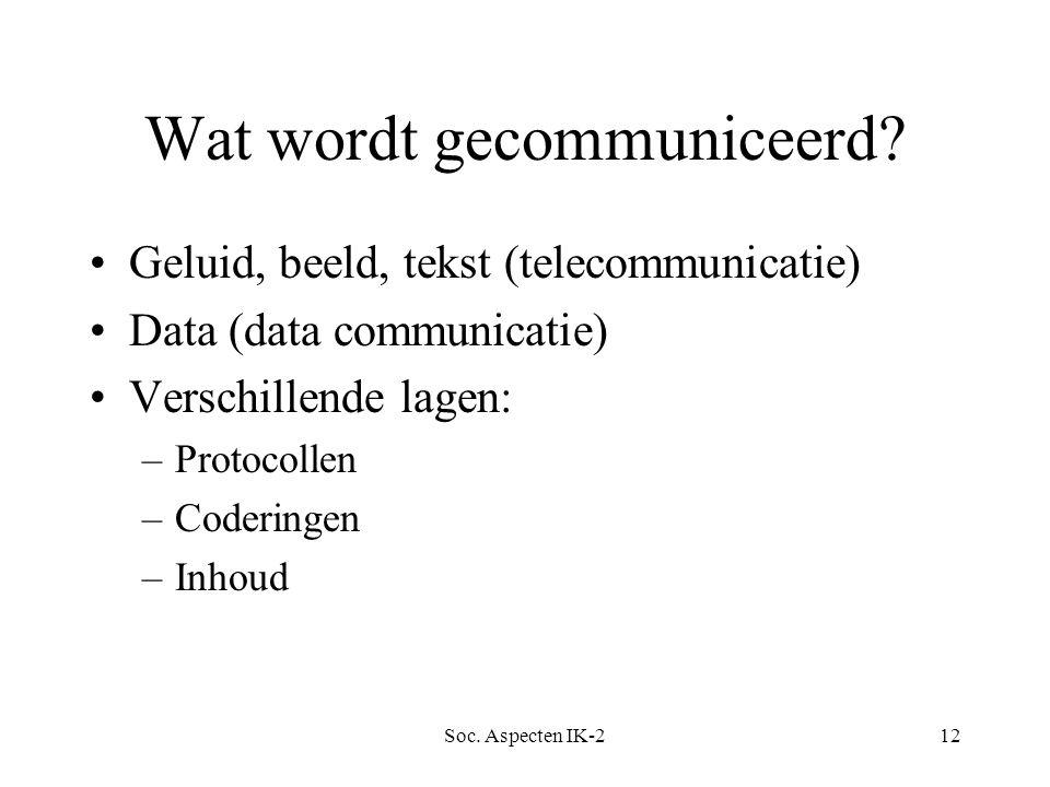 Soc. Aspecten IK-212 Wat wordt gecommuniceerd.