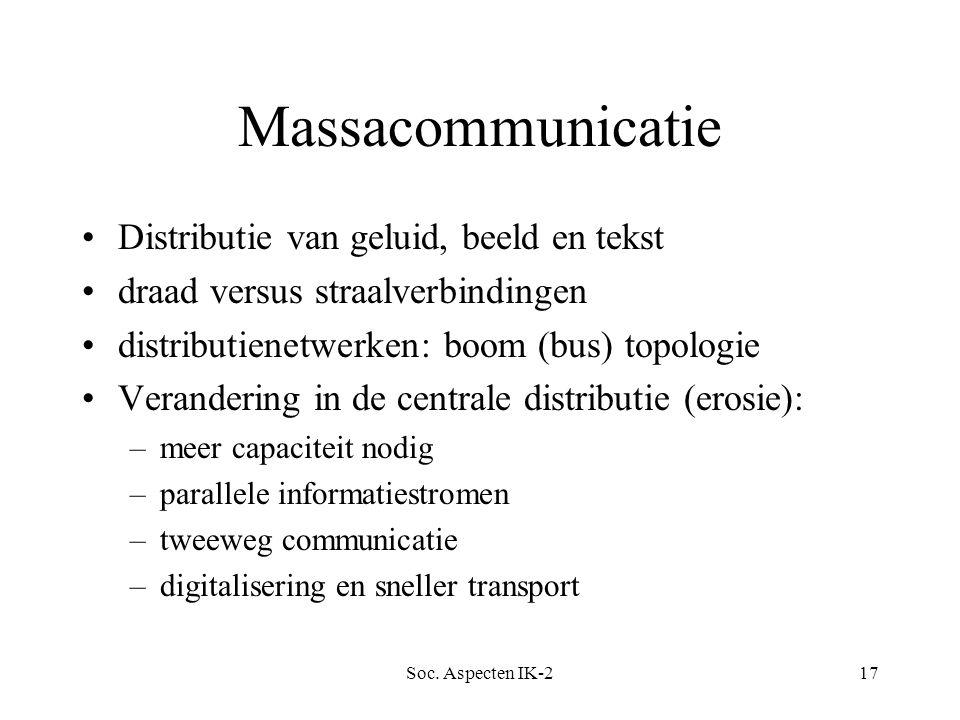 Soc. Aspecten IK-217 Massacommunicatie Distributie van geluid, beeld en tekst draad versus straalverbindingen distributienetwerken: boom (bus) topolog