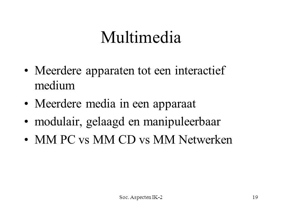 Soc. Aspecten IK-219 Multimedia Meerdere apparaten tot een interactief medium Meerdere media in een apparaat modulair, gelaagd en manipuleerbaar MM PC
