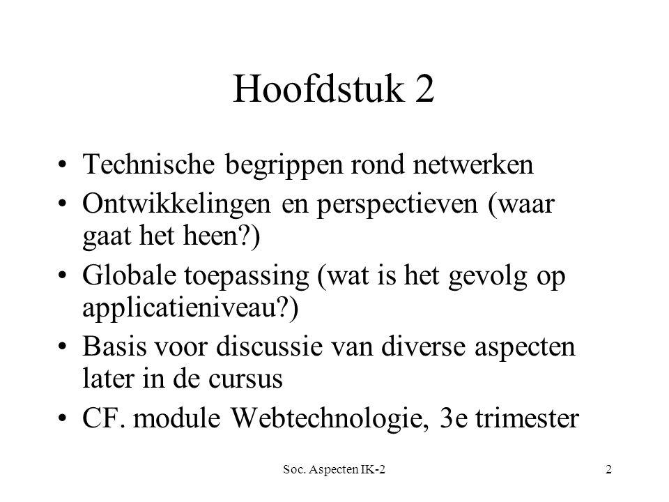 Soc. Aspecten IK-22 Hoofdstuk 2 Technische begrippen rond netwerken Ontwikkelingen en perspectieven (waar gaat het heen?) Globale toepassing (wat is h