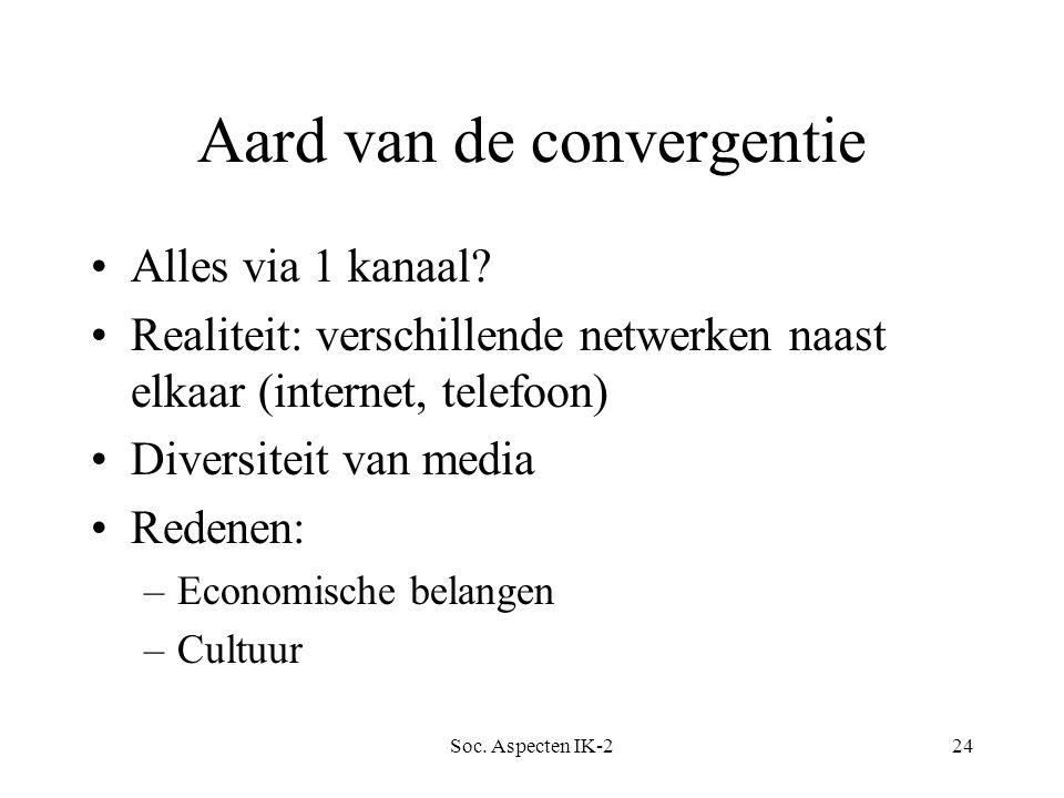 Soc. Aspecten IK-224 Aard van de convergentie Alles via 1 kanaal.