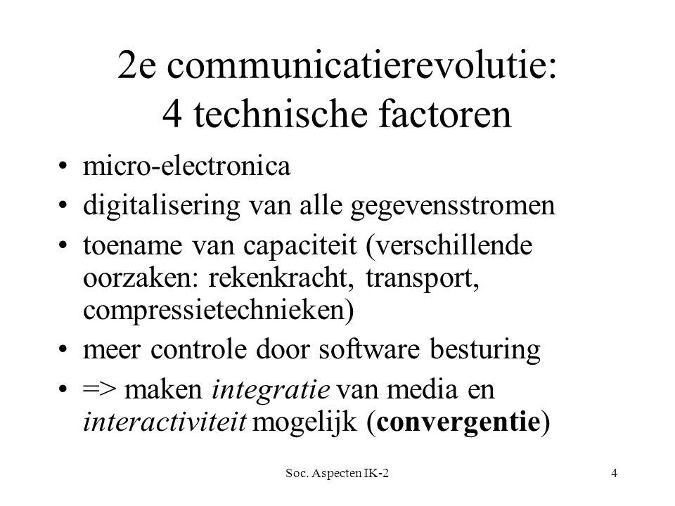 Soc. Aspecten IK-24 2e communicatierevolutie: 4 technische factoren micro-electronica digitalisering van alle gegevensstromen toename van capaciteit (