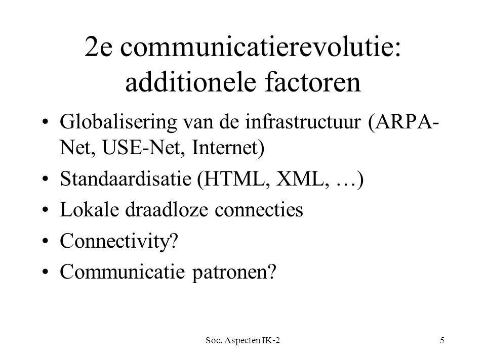 Soc. Aspecten IK-25 2e communicatierevolutie: additionele factoren Globalisering van de infrastructuur (ARPA- Net, USE-Net, Internet) Standaardisatie