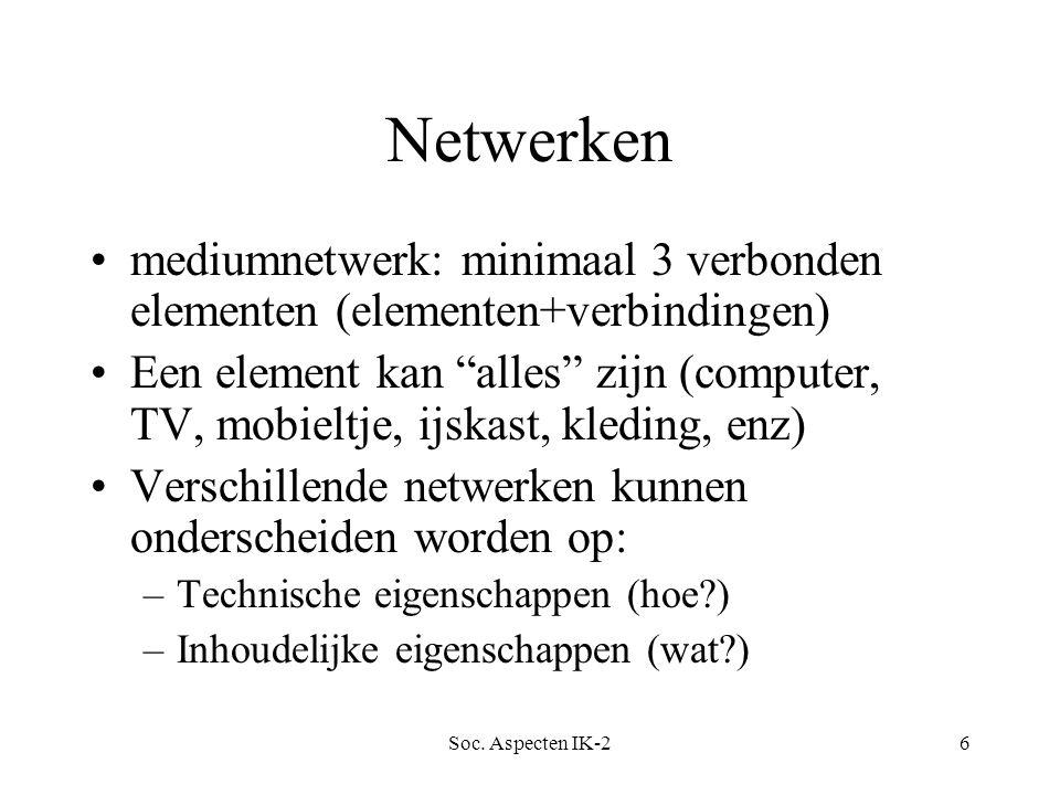 """Soc. Aspecten IK-26 Netwerken mediumnetwerk: minimaal 3 verbonden elementen (elementen+verbindingen) Een element kan """"alles"""" zijn (computer, TV, mobie"""