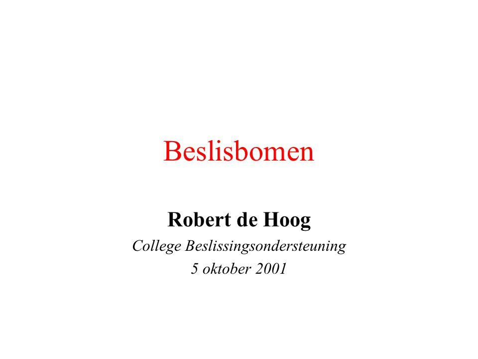 Beslissingsondersteuning 5/10/200112 Het bomenboek: waarden Dienen om waarden van de beslisser te eliciteren en te ordenen Waarden dienen voor het vinden van utiliteiten van uitkomsten (zie H7 en H8) Belangrijk in het kader van dit programma!