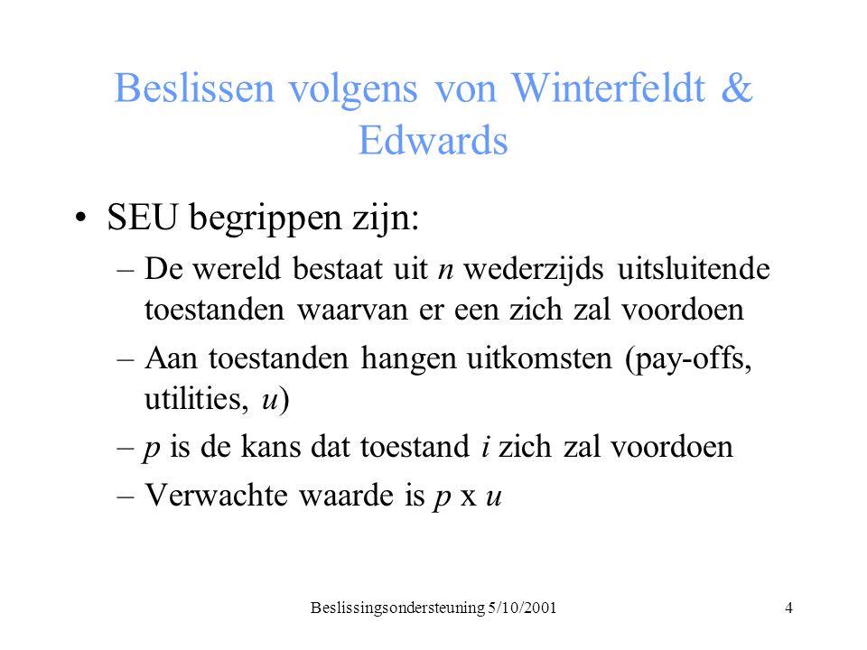 Beslissingsondersteuning 5/10/20014 Beslissen volgens von Winterfeldt & Edwards SEU begrippen zijn: –De wereld bestaat uit n wederzijds uitsluitende toestanden waarvan er een zich zal voordoen –Aan toestanden hangen uitkomsten (pay-offs, utilities, u) –p is de kans dat toestand i zich zal voordoen –Verwachte waarde is p x u