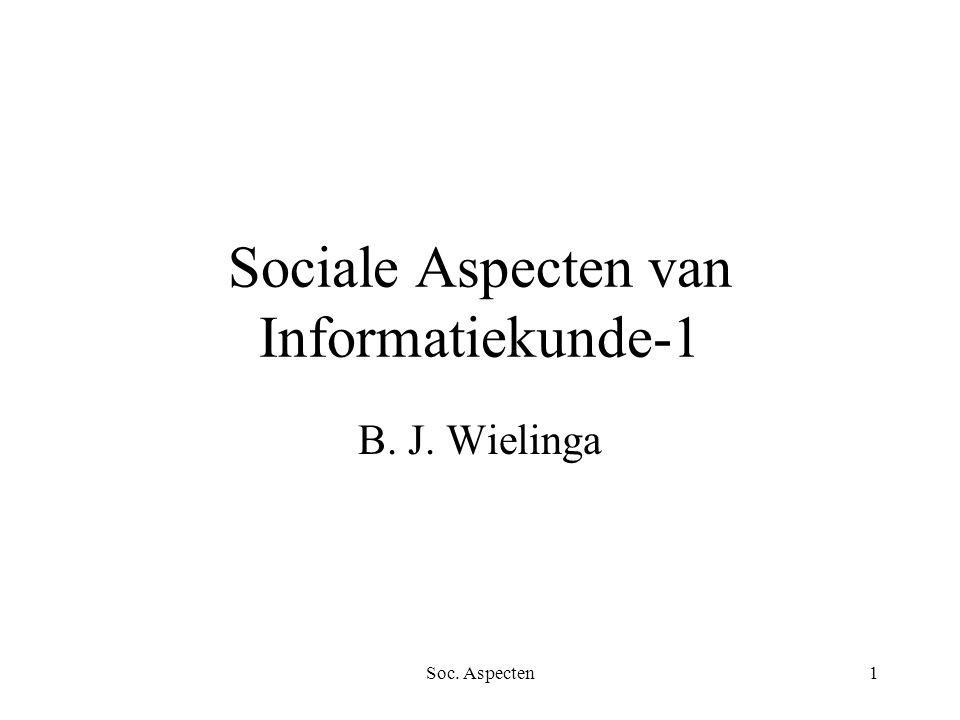 Soc. Aspecten1 Sociale Aspecten van Informatiekunde-1 B. J. Wielinga