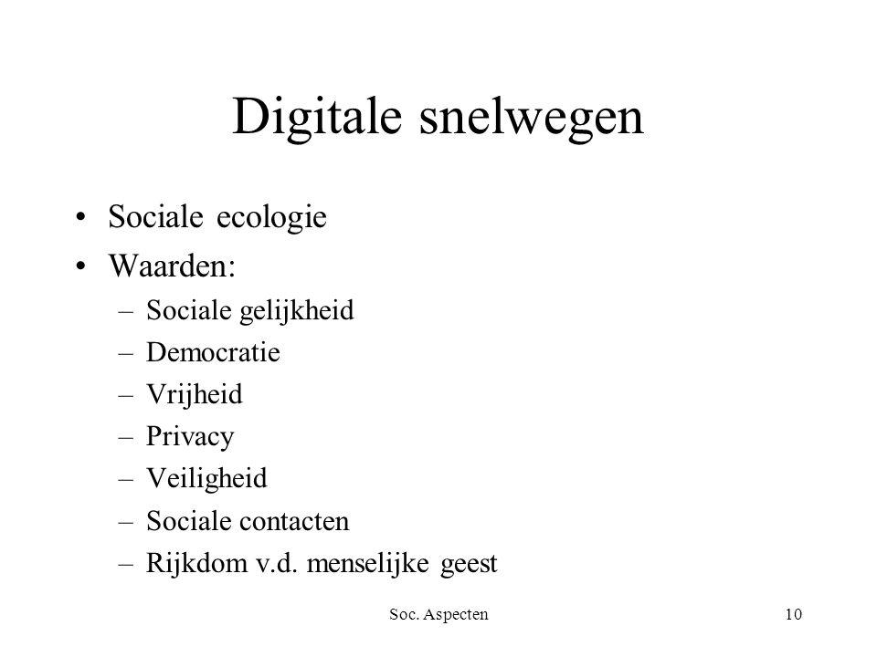 Soc. Aspecten10 Digitale snelwegen Sociale ecologie Waarden: –Sociale gelijkheid –Democratie –Vrijheid –Privacy –Veiligheid –Sociale contacten –Rijkdo