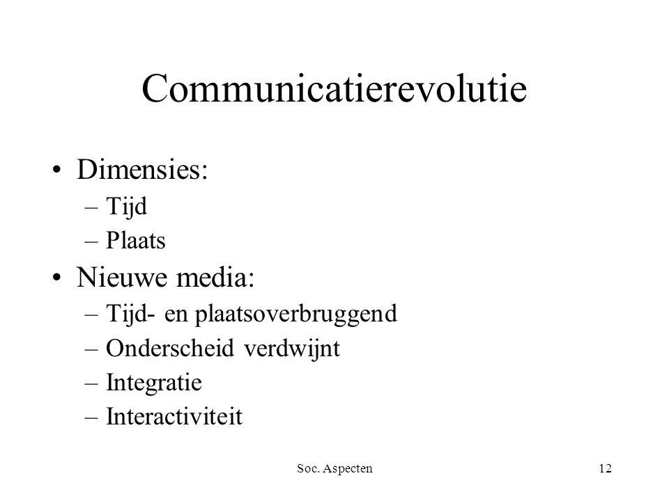 Soc. Aspecten12 Communicatierevolutie Dimensies: –Tijd –Plaats Nieuwe media: –Tijd- en plaatsoverbruggend –Onderscheid verdwijnt –Integratie –Interact