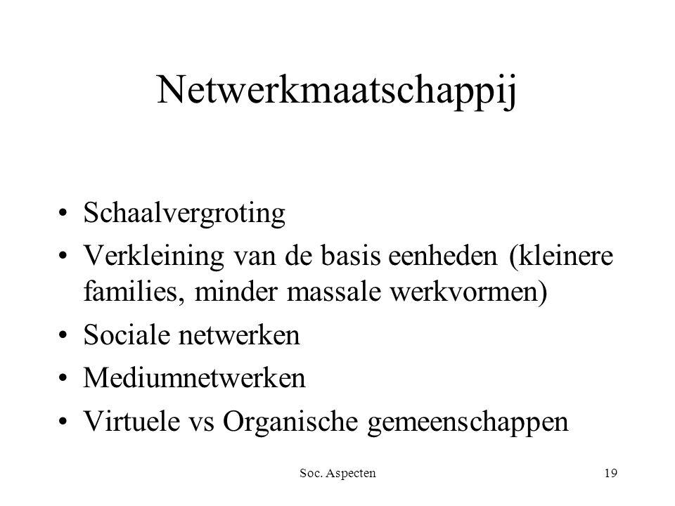 Soc. Aspecten19 Netwerkmaatschappij Schaalvergroting Verkleining van de basis eenheden (kleinere families, minder massale werkvormen) Sociale netwerke