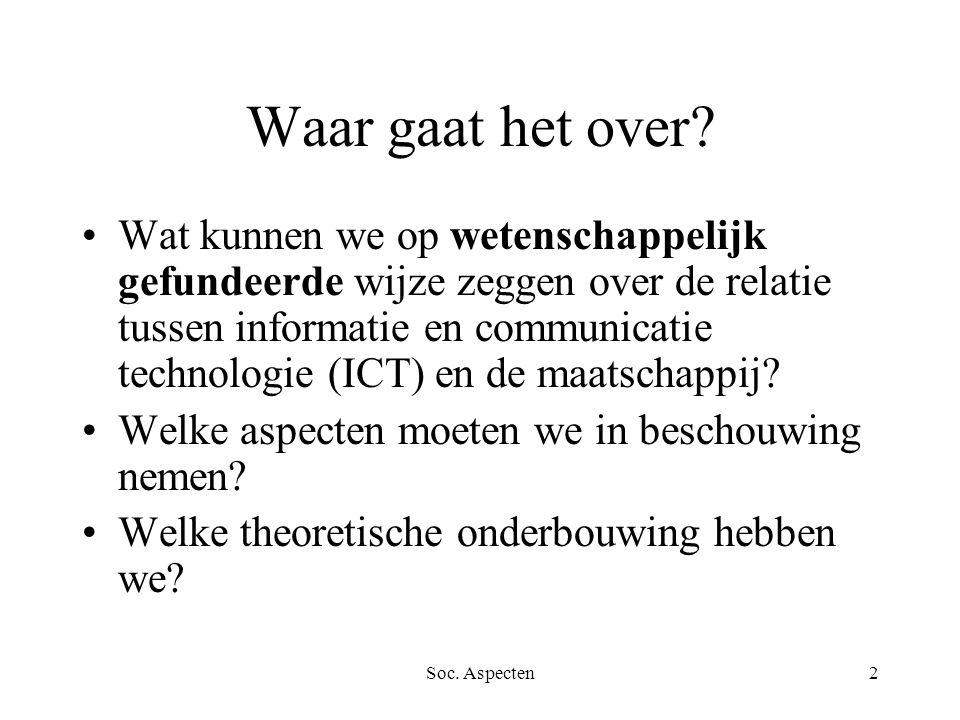 Soc.Aspecten3 Organisatie Boek: J. van Dijk, De netwerkmaatschappij.