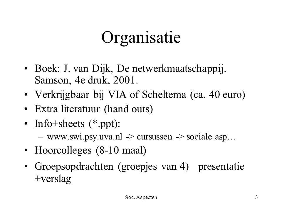 Soc. Aspecten3 Organisatie Boek: J. van Dijk, De netwerkmaatschappij. Samson, 4e druk, 2001. Verkrijgbaar bij VIA of Scheltema (ca. 40 euro) Extra lit