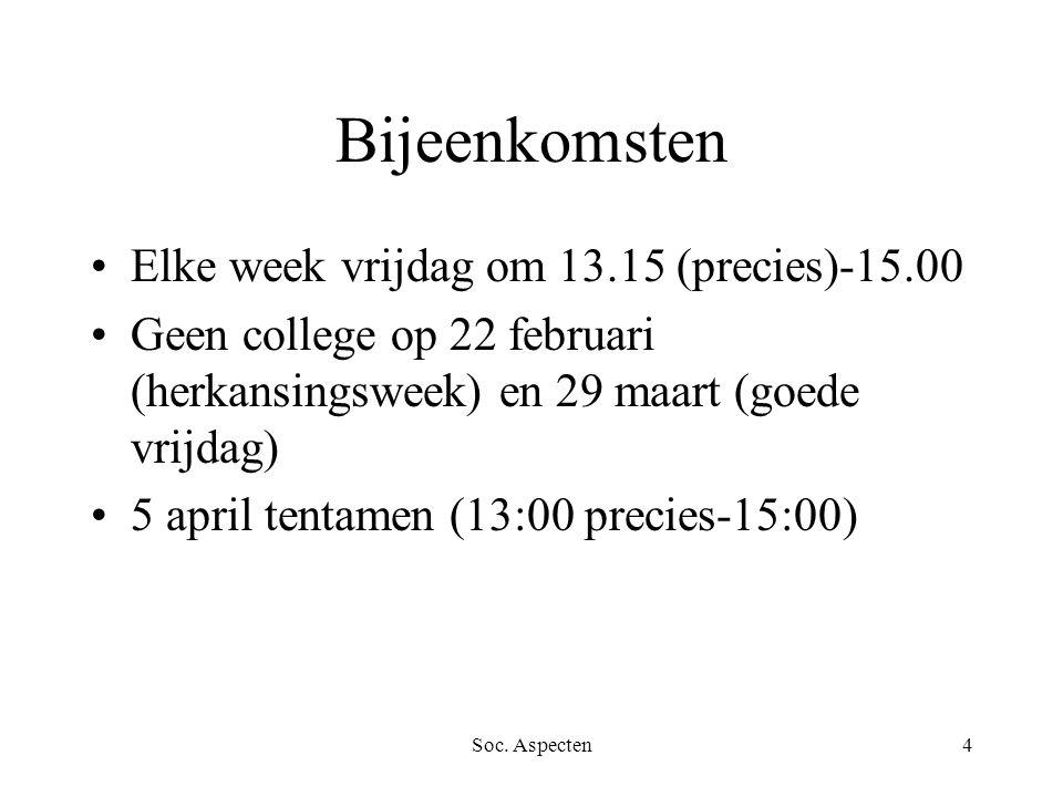 Soc. Aspecten4 Bijeenkomsten Elke week vrijdag om 13.15 (precies)-15.00 Geen college op 22 februari (herkansingsweek) en 29 maart (goede vrijdag) 5 ap