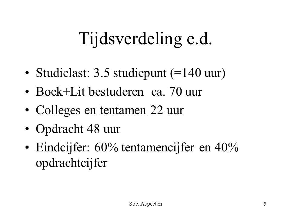 Soc. Aspecten5 Tijdsverdeling e.d. Studielast: 3.5 studiepunt (=140 uur) Boek+Lit bestuderen ca.