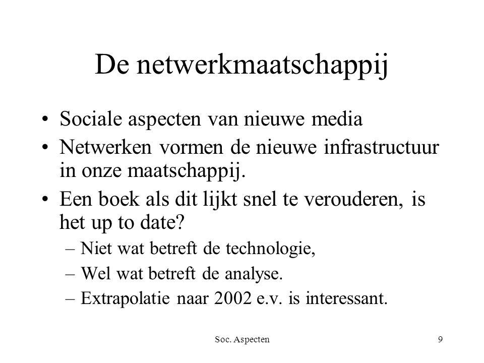 Soc. Aspecten9 De netwerkmaatschappij Sociale aspecten van nieuwe media Netwerken vormen de nieuwe infrastructuur in onze maatschappij. Een boek als d