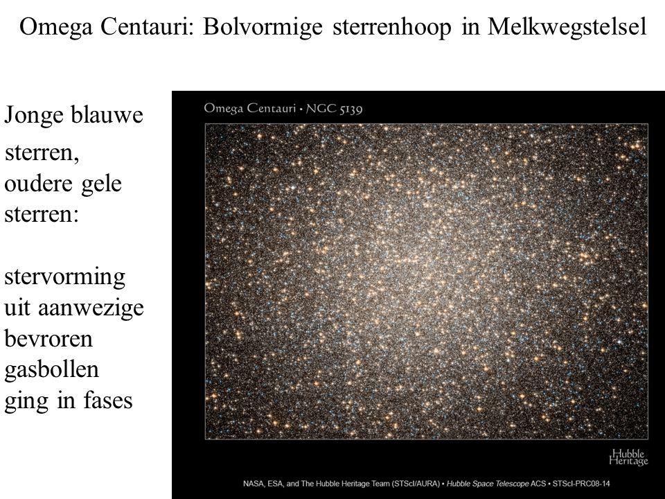 Omega Centauri: Bolvormige sterrenhoop in Melkwegstelsel Jonge blauwe sterren, oudere gele sterren: stervorming uit aanwezige bevroren gasbollen ging