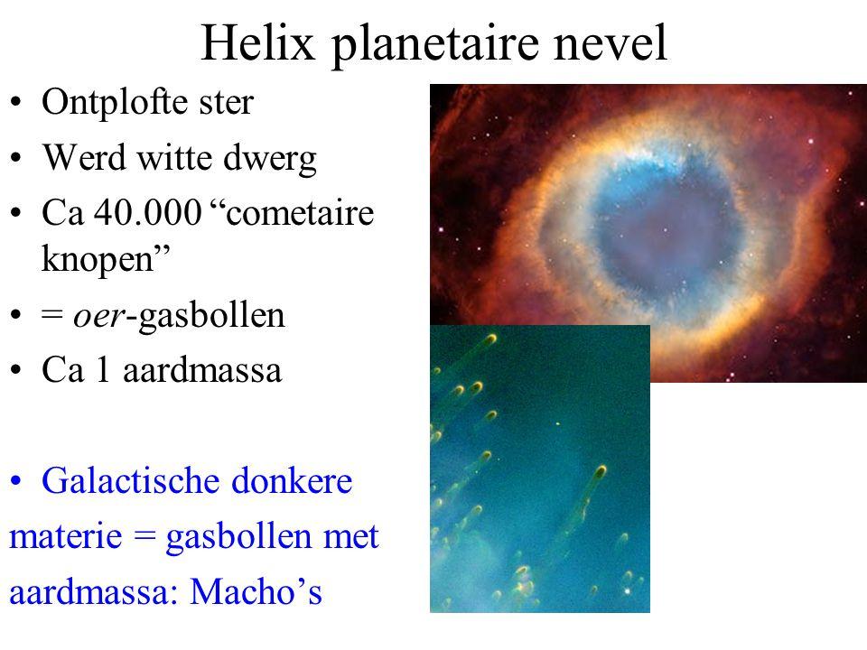"""Helix planetaire nevel Ontplofte ster Werd witte dwerg Ca 40.000 """"cometaire knopen"""" = oer-gasbollen Ca 1 aardmassa Galactische donkere materie = gasbo"""