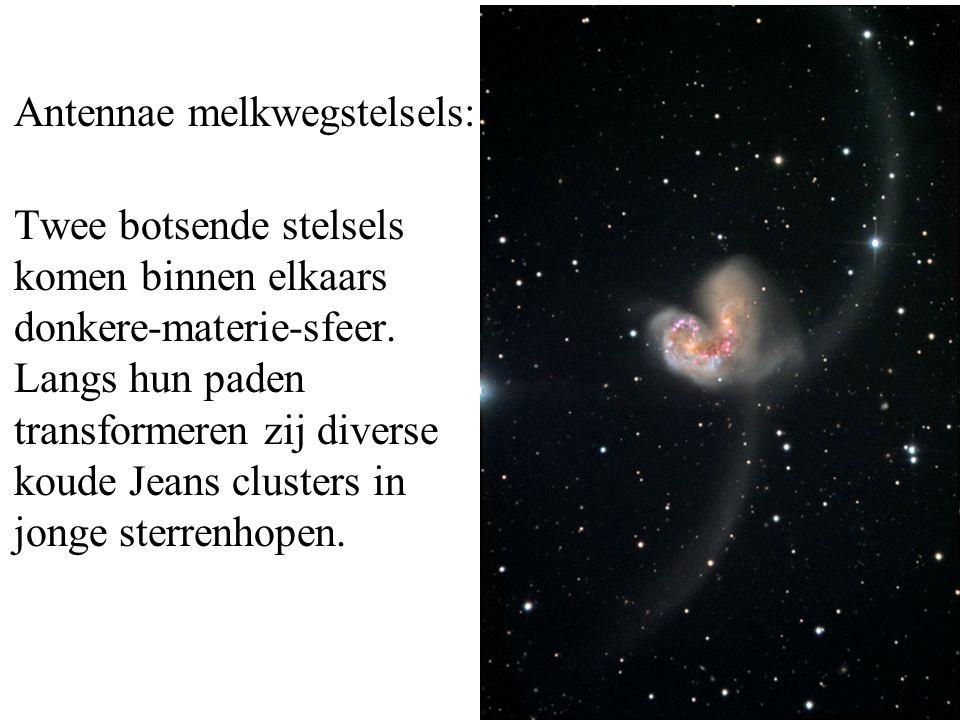Antennae melkwegstelsels: Twee botsende stelsels komen binnen elkaars donkere-materie-sfeer. Langs hun paden transformeren zij diverse koude Jeans clu