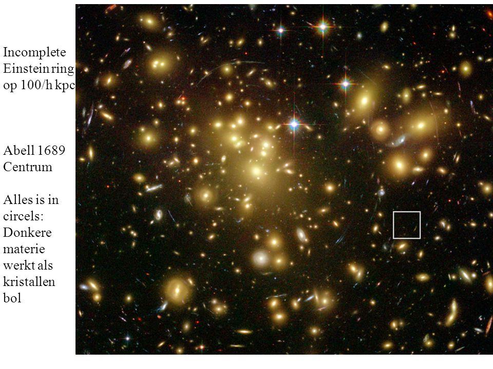 Incomplete Einstein ring op 100/h kpc Abell 1689 Centrum Alles is in circels: Donkere materie werkt als kristallen bol