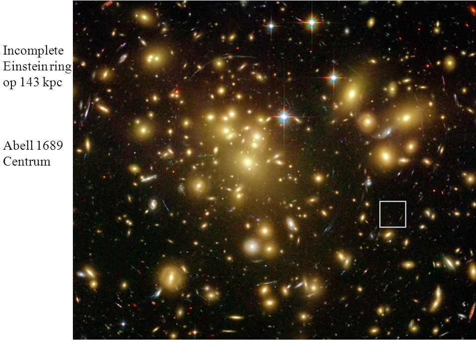 Incomplete Einstein ring op 143 kpc Abell 1689 Centrum
