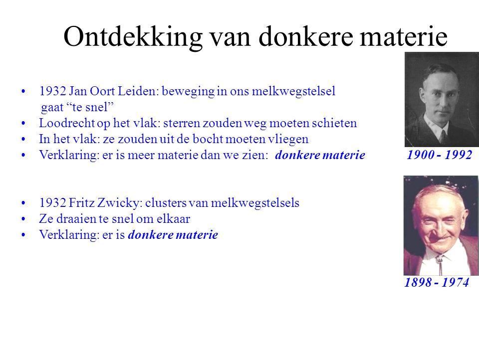 """Ontdekking van donkere materie 1932 Jan Oort Leiden: beweging in ons melkwegstelsel gaat """"te snel"""" Loodrecht op het vlak: sterren zouden weg moeten sc"""