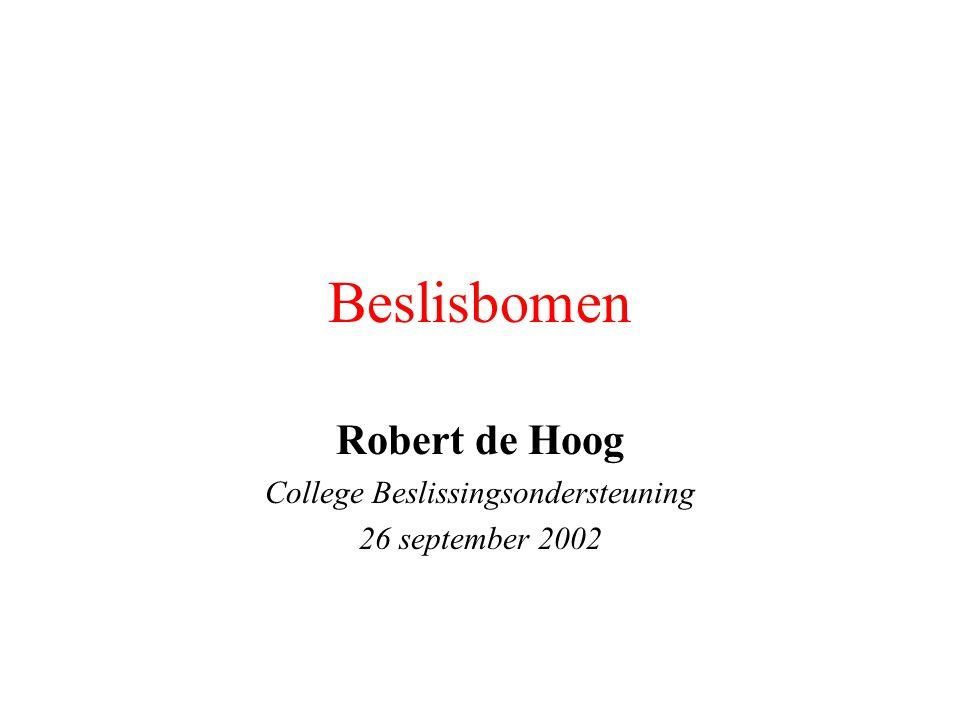 Beslisbomen Robert de Hoog College Beslissingsondersteuning 26 september 2002