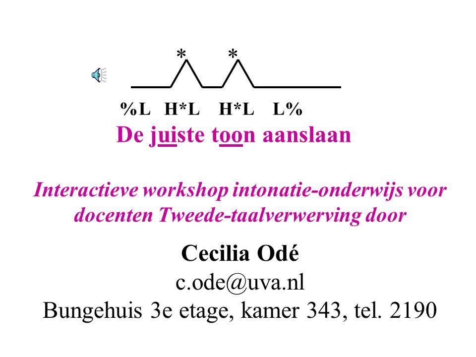 De juiste toon aanslaan, © Cecilia Odé, workshop intonatie-onderwijs, 13 maart 2007 21