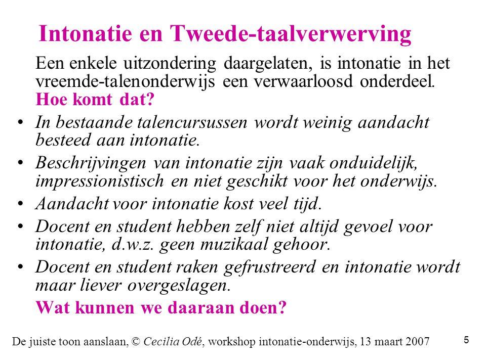 De juiste toon aanslaan, © Cecilia Odé, workshop intonatie-onderwijs, 13 maart 2007 15 Communicatieve functies is de uiting voltooid.