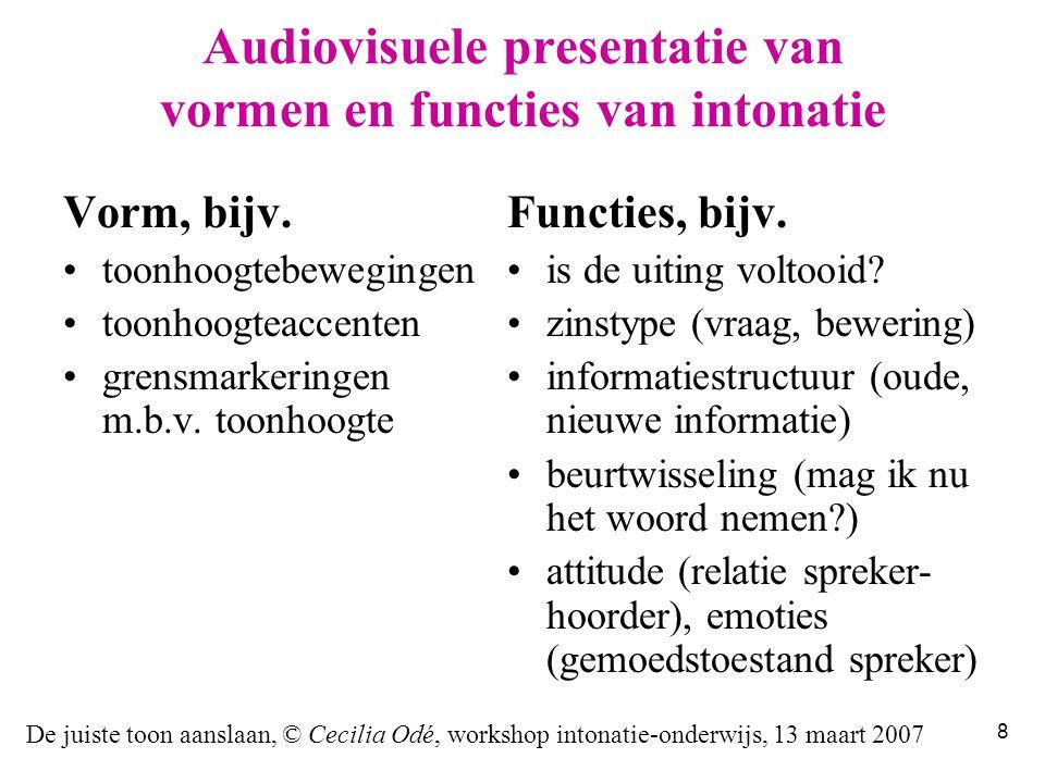 De juiste toon aanslaan, © Cecilia Odé, workshop intonatie-onderwijs, 13 maart 2007 8 Audiovisuele presentatie van vormen en functies van intonatie Vorm, bijv.