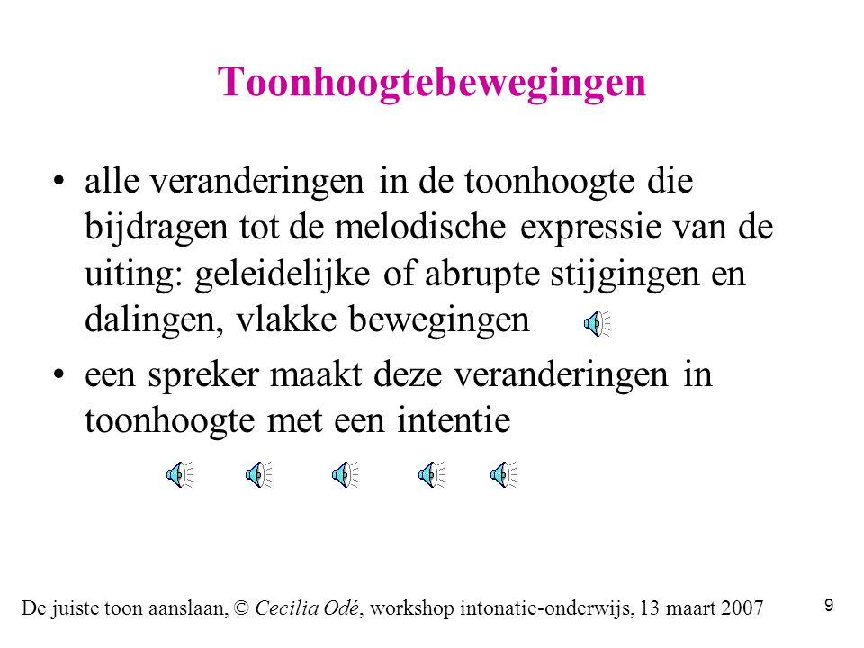 De juiste toon aanslaan, © Cecilia Odé, workshop intonatie-onderwijs, 13 maart 2007 39 dit zijn de standaardwaarden, ok!