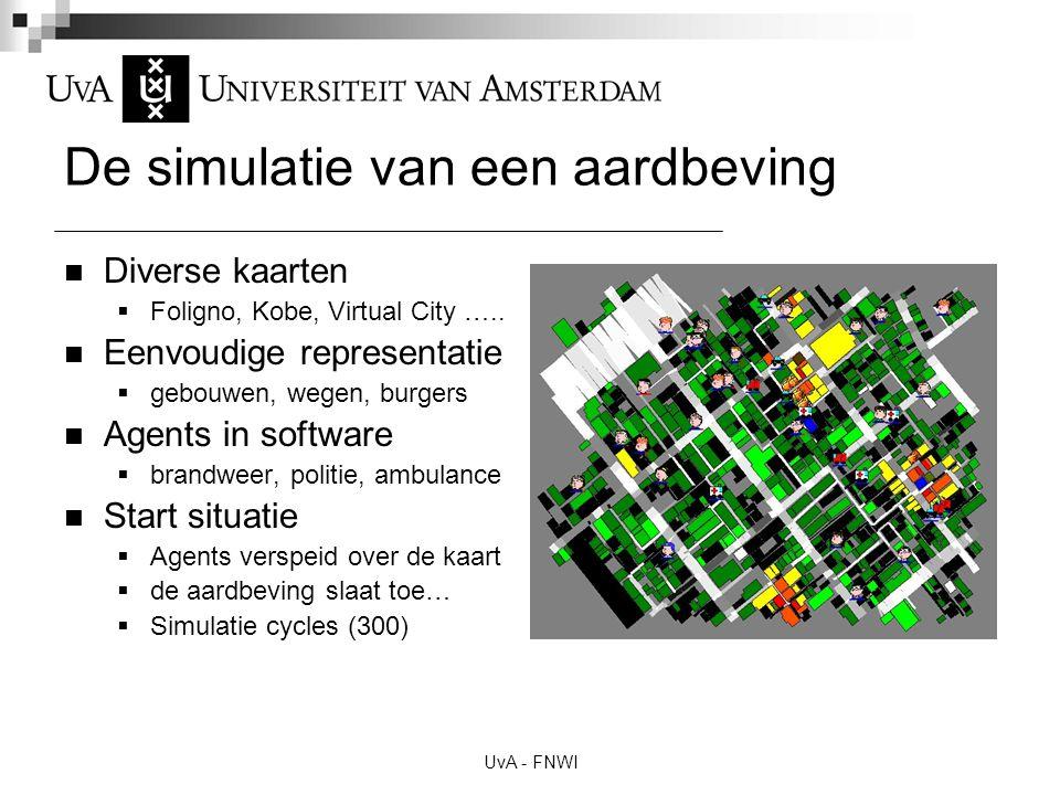 UvA - FNWI De simulatie van een aardbeving Diverse kaarten  Foligno, Kobe, Virtual City ….. Eenvoudige representatie  gebouwen, wegen, burgers Agent