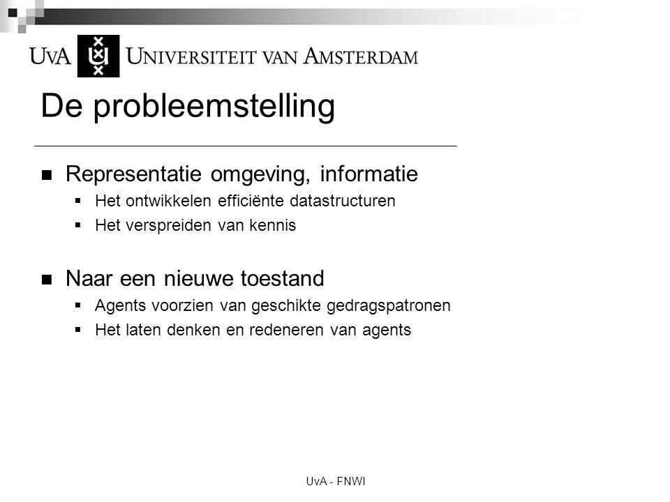 De probleemstelling Representatie omgeving, informatie  Het ontwikkelen efficiënte datastructuren  Het verspreiden van kennis Naar een nieuwe toesta