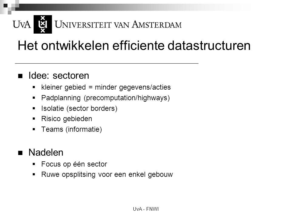 UvA - FNWI Het ontwikkelen efficiente datastructuren Idee: sectoren  kleiner gebied = minder gegevens/acties  Padplanning (precomputation/highways)  Isolatie (sector borders)  Risico gebieden  Teams (informatie) Nadelen  Focus op één sector  Ruwe opsplitsing voor een enkel gebouw