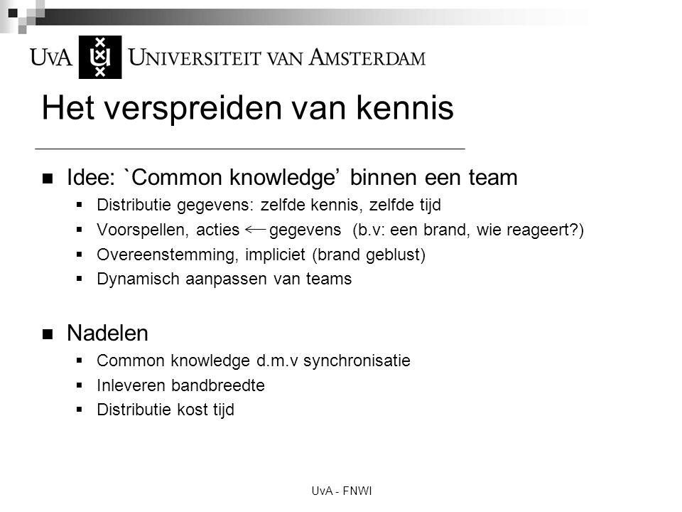 UvA - FNWI Het verspreiden van kennis Idee: `Common knowledge' binnen een team  Distributie gegevens: zelfde kennis, zelfde tijd  Voorspellen, actie