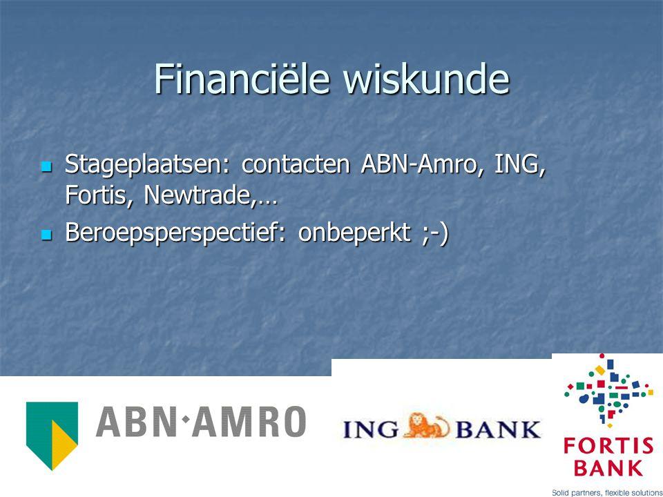 Financiële wiskunde Stageplaatsen: contacten ABN-Amro, ING, Fortis, Newtrade,… Stageplaatsen: contacten ABN-Amro, ING, Fortis, Newtrade,… Beroepspersp