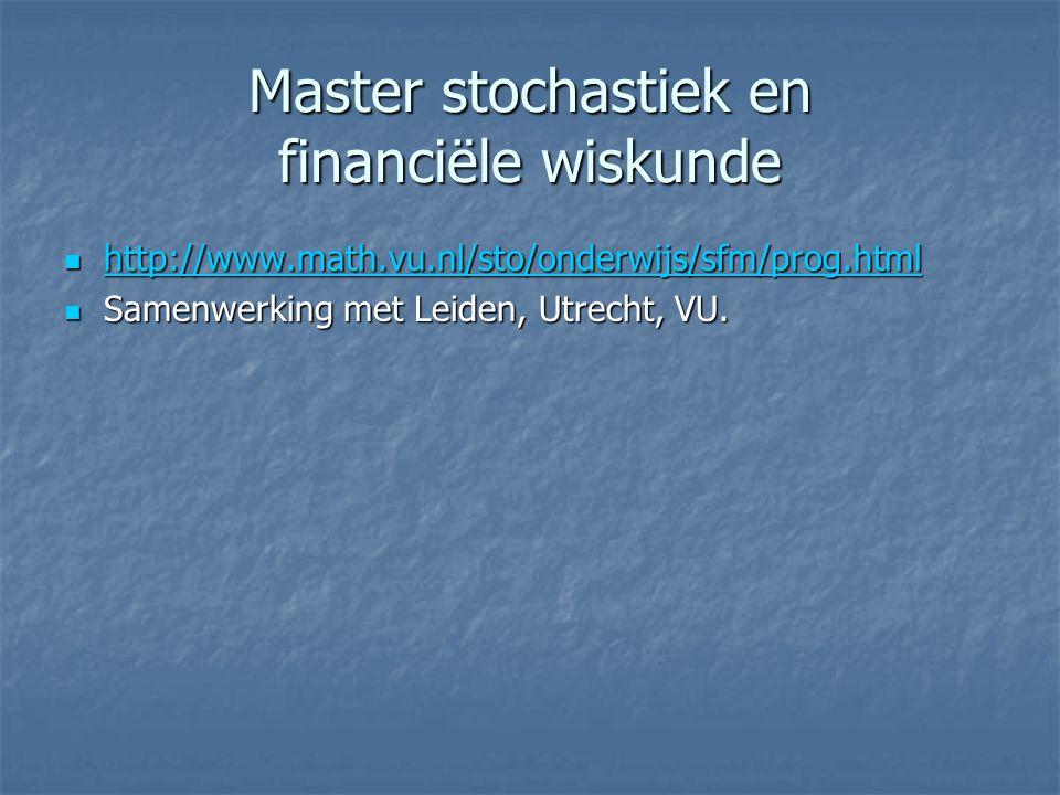 Master stochastiek en financiële wiskunde http://www.math.vu.nl/sto/onderwijs/sfm/prog.html http://www.math.vu.nl/sto/onderwijs/sfm/prog.html http://w
